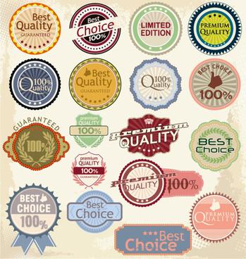 retro quality label vector set