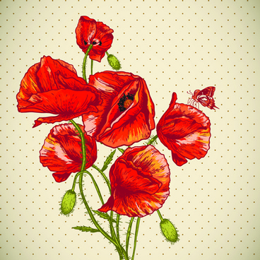 retro red poppies cards vector graphics