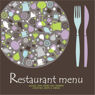 retro restaurant menu cover design art vector