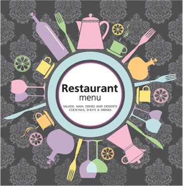 retro restaurant menu cover design art vector