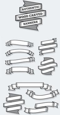 retro ribbon banner vector design