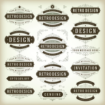retro ribbon labels design graphics vector