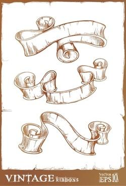 retro ribbon templates 3d handdrawn sketch