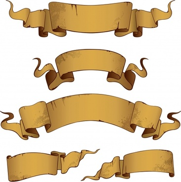 ribbon templates 3d brown vintage design