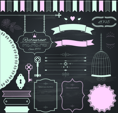 retro ribbon with border and frame ornaments vector