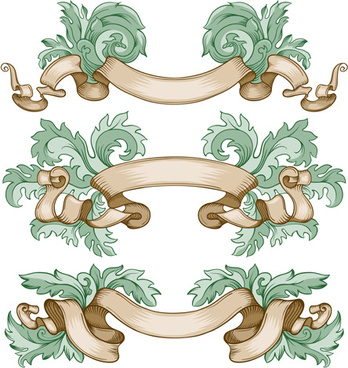 retro ribbon with ornaments floral vector