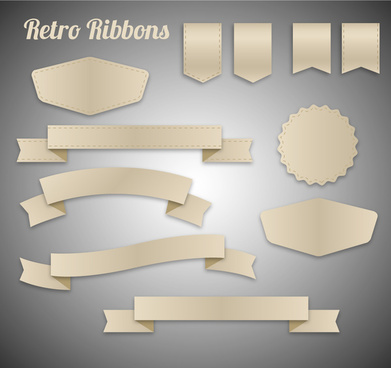 retro ribbons vector illustration with various shapes