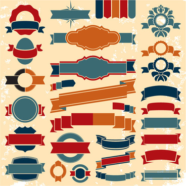 retro ribbons with labels vector set