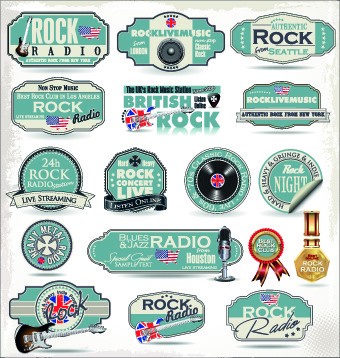 retro rock music and jazz labels vector