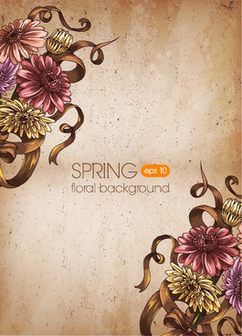 retro romantic floral cards elements vector set