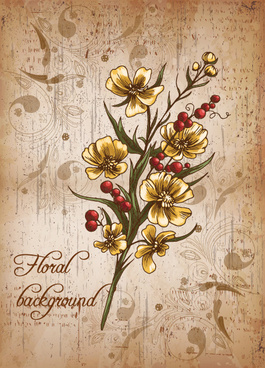 retro romantic floral cards elements vector set