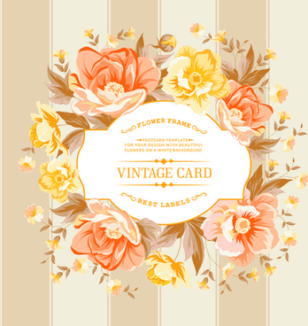 retro rose with vintage card vector