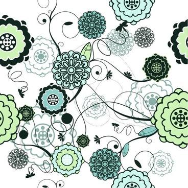 Retro Seamless Floral Background Vector Illustration