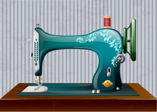 retro sewing machine shiny 3d multicolored design