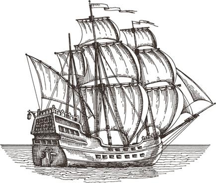 retro ship hand drawn vector