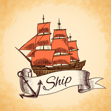 retro ship hand drawn vector