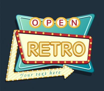 Retro Signboard Template Neon Light Arrow Decoration