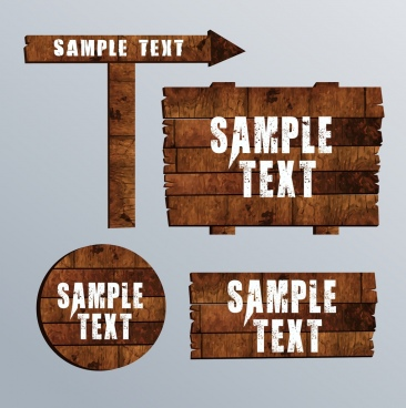 retro signboard templates wooden materials decor