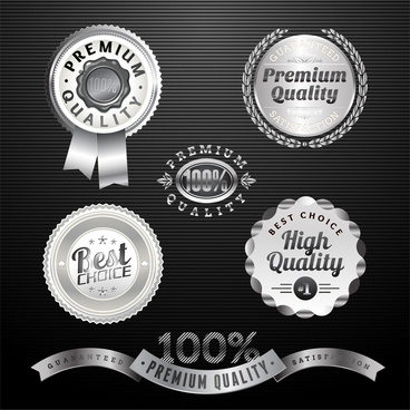 retro silver badge label and ribbon