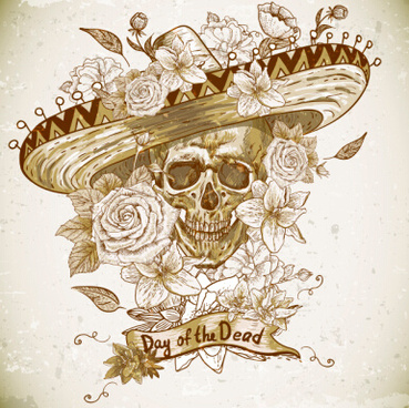 retro skull with flower vector