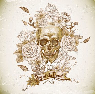 retro skull with flower vector