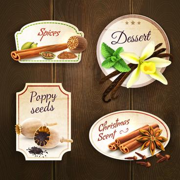 retro spices labels design vector set