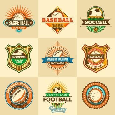 retro sports stickers set
