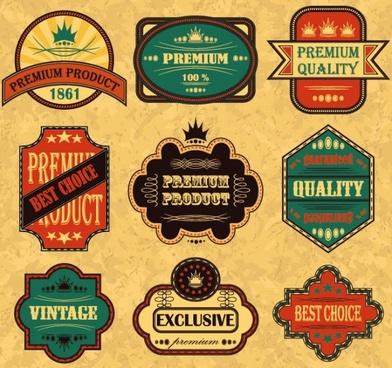 retro sticker label 03 vector