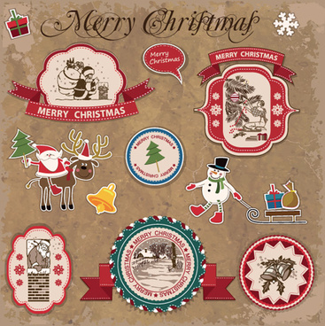 retro style christmas labels design vector