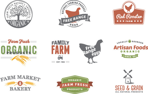 retro style farm logos design vector