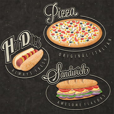 retro style fast food logos design