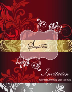 retro style floral ornament invitation card vector