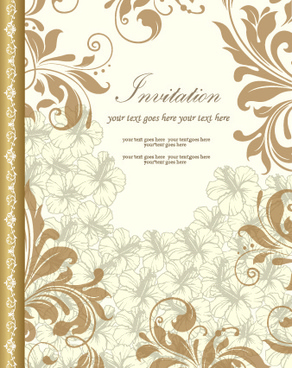 retro style floral ornament invitation card vector