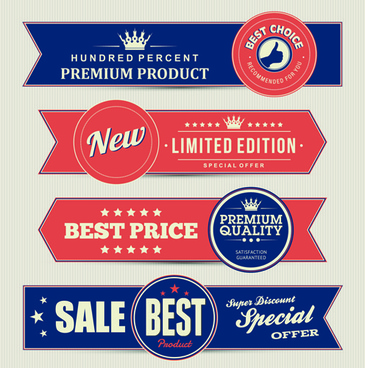 retro style sale banners set vector