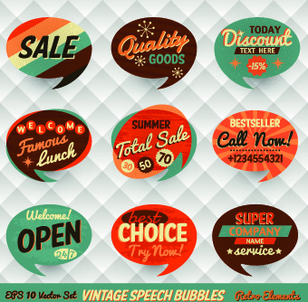 retro style speech bubble labels