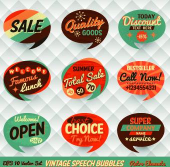 retro style speech bubble labels