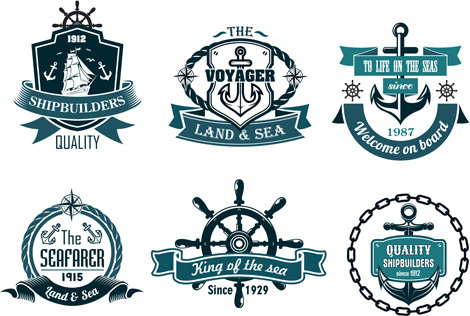 retro styles nautical labels vector