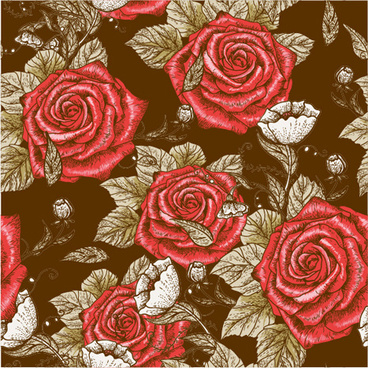 retro styles roses seamless pattern vector