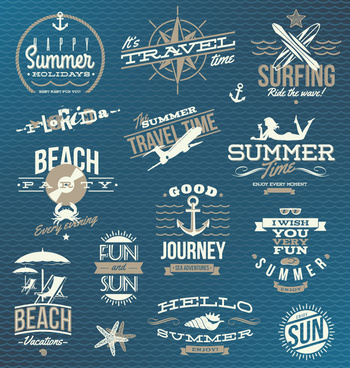 retro summer beach mark vector