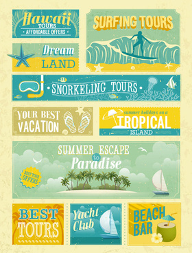retro summer elements vector