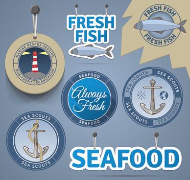 retro tag and badge sea elements vector