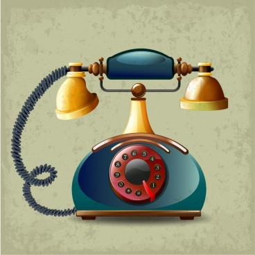 Retro telephone icon shiny 3d multicolored design