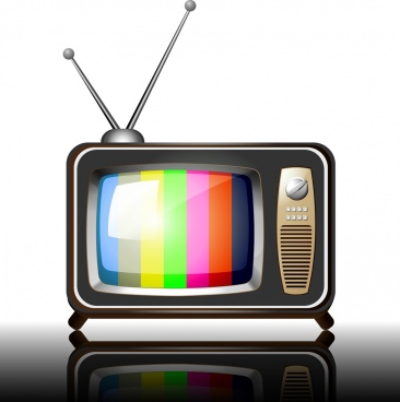 retro television icon multicolored shiny design