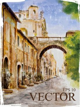 retro town watercolor vector
