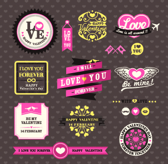 retro valentines day labels vector set