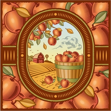 agriculture products background classical handdrawn fruits farm sketch