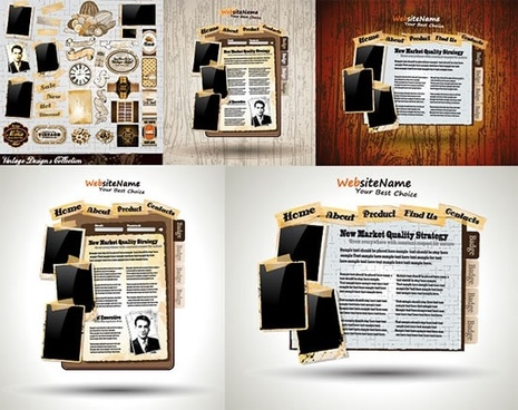 webpage design elements retro newspapers templates sketch