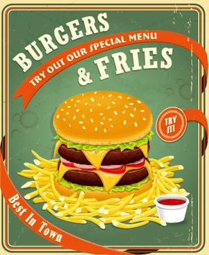 retro vintage fast food poster design vector