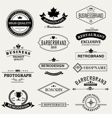 Retro Vintage Insignias or icons set