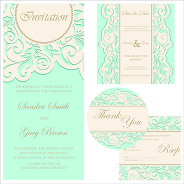 retro wedding invitation cards design